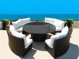 Round Wicker Patio Furniture CASSANDRA ROUND OUTDOOR WICKER DINING - Round outdoor sofa
