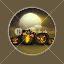 banner or background for halloween party night with scary pumpkins
