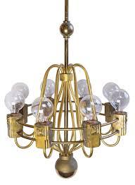 Brass Chandelier Mid Century Cast Brass Chandelier Art Deco Mid Century Modern