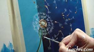 how to paint a simple dandelion with liquitex acrylic paint and an