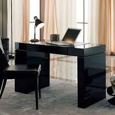 black modern home office desk design ideas and black desk lamp for