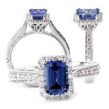 sapphire emerald cut engagement rings crafted 18k chatham 7x5mm emerald cut blue sapphire