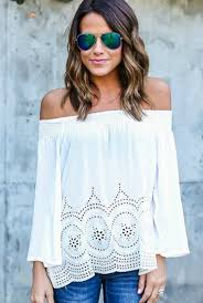 show meshoulder lenght hair everly white off the shoulder top shoulder hair style and hair cuts