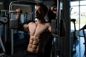 doing butterfly chest exercise on machine stock photo image
