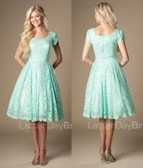 cheap modest bridesmaid dresses vintage mint lace knee length modest bridesmaid dresses with