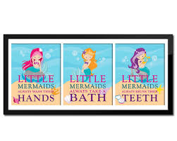 Mermaid Bathroom Decor Set Of 3 Little Mermaid Bathroom Rules U0027s Bathroom
