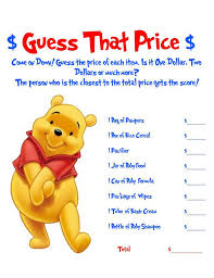 winnie the pooh baby shower ideas winnie the pooh guess that price baby shower
