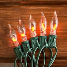 flicker flame string lights flickering flame string lights 50 outdoor c7 bulbs green wire