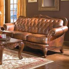 Tufted Brown Leather Sofa Top Grain Leather Sofa Ebay