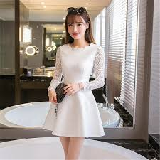 white party dresses summer autumn women lace casual dress sleeve korean