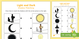 light and shadows lesson plans and dark shadow matching worksheet light dark match