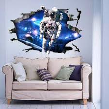 3d wall stickers wallpaper space astronauts decor kids room decal