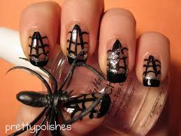 prettypolishes halloween spider web nail art