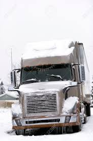 modern semi truck and trailer in two colors truck covered with