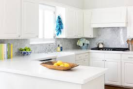 Creamy White Kitchen Cabinets Off White Kitchen With Gray Marble Subway Tiles Transitional