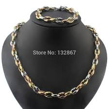 rose gold colour necklace images Online shop new 3 colour mixed stainless steel men huge chain jpg