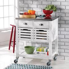 linon robbin kitchen island cart u2014 white with stainless steel top
