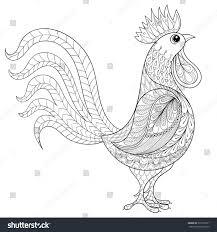 vector rooster zentangle domestic farmer bird stock vector