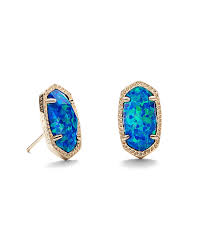 dark blue opal ellie gold stud earrings in blue opal kendra scott