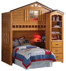 rustic oak tree house twin bunk loft bed w desk transitional