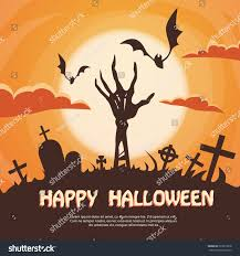 halloween banner cemetery graveyard skeleton hand stock vector