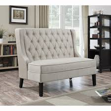 furniture white tufted banquette bench with wood storage and