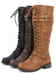 womens knee high boots womens knee high lace up buckle fashion combat boots pu