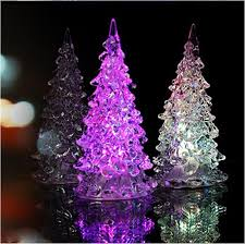 Color Changing Christmas Trees - super beautiful mini acrylic icy crystal color changing led lamp