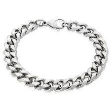 silver chain bracelet men images Men 39 s crucible stainless steel beveled curb chain bracelet 11mm