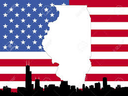 Chicago Illinois Map by Map Of Illinois On American Flag With Chicago Skyline Stock Photo