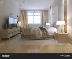 Double Bad Design Furniture Contemporary Bedroom Design Spacious Room With Light Wood Parquet