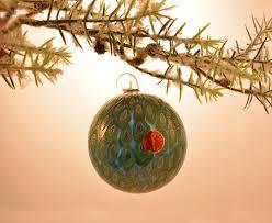 murano glass blue and emerald tree ornament murano