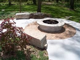 exterior round outdoor patio firepit for backyard landscaping