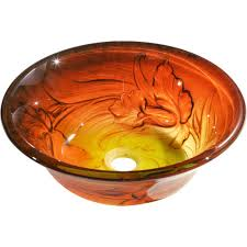 y decor vantage vessel sink in burnt orange and yellow vantage