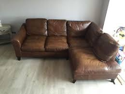 Laura Ashley Brown Corner Leather Sofa Baslow EBay - Corner leather sofas
