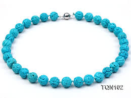 round turquoise necklace images 12 5mm bule round faceted turquoise necklace yide jewelry jpg