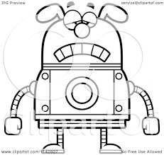 cartoon clipart of a black and white sad dog robot vector