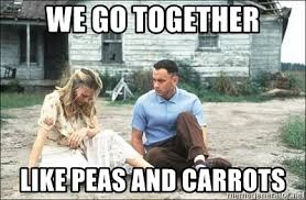 We Go Together Meme - we go together like peas and carrots forrest gump and jenny meme