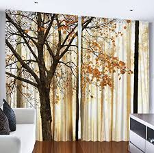 Yellow Curtains For Bedroom Amazon Com Curtains For Living Room By Ambesonne Fall Trees