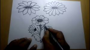 how to draw simple flower sketch for kids youtube