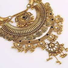 big statement gold necklace images New design brand multilayer vintage gold punk women necklace jpg