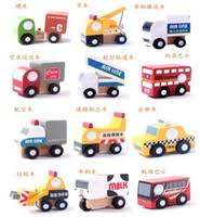 buy wooden mini car vehicle bus taxi cranes road signs car modle