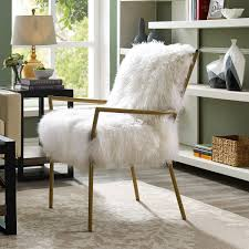 tov furniture lena white sheepskin chair on rose gold frame