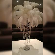 ostrich feather centerpiece ostrich feather centerpiece with acrylic and pearl garlands