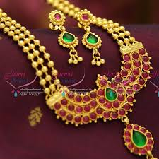 nl1669 exclusive kempu jewellery one gram gold plated
