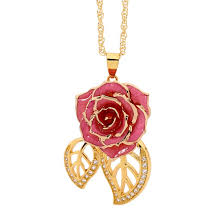 necklace gold pink images Pink glazed rose pendant in leaf theme 24k gold jpg