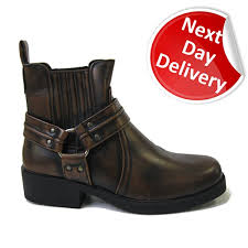 s boots day delivery maverick 2 mens brown leather look cowboy style ankle boots with