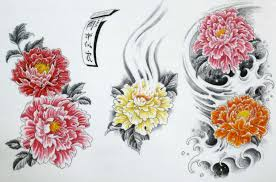 colorful japanese peony flowers tattoo design