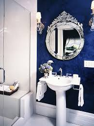 blue and black bathroom ideas i this shade of blue and the sharp contrast against the white