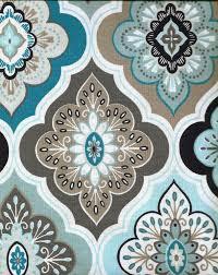 peri fabric shower curtain lilian tile floral aqua grey teal taupe